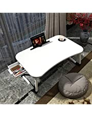 "Lap Desk with Storage Drawer, Cup and Phone Holder, Laptop Bed Tray Table, 23.6"" Foldable Laptop Desk, Laptop Stand for Working, Writing, Gaming and Drawing (23"", White)"