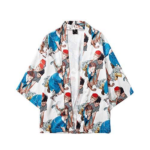JJLIKER Mens Print Kimono Cardigan Japanese Jacket Coat Casual Hipster Seven Sleeves Open Front Baggy Tops Summer Shirts Blue