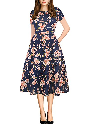 oxiuly Women's Round Neck Floral Casual Pocket Tunic Party Cocktail T-Shirt A-Line Dress OX262 (S, Blue Pink)
