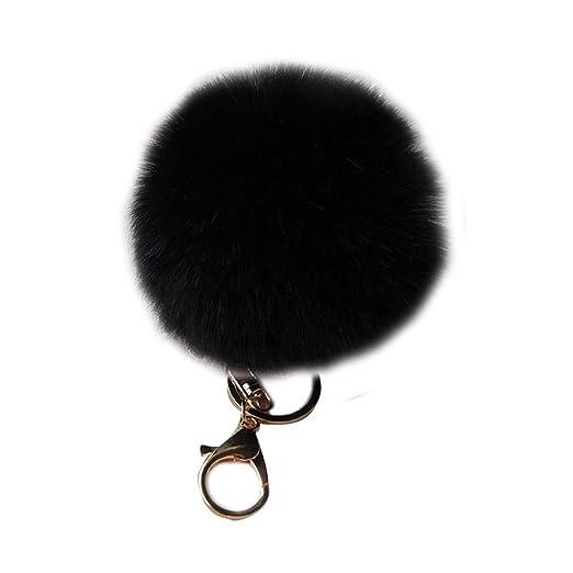 80a67a18cf Raylans Faux Soft Fluffy 10cm Ball Rabbit Fur Car Keychain Pendant Handbag  Charm Keyring Pom