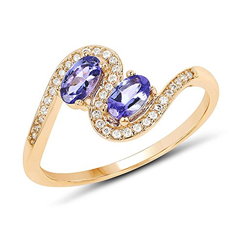 Genuine Oval Tanzanite and Diamond Ring in 14k Yellow Gold - Size 7.00 - 14k Oval Tanzanite Ring
