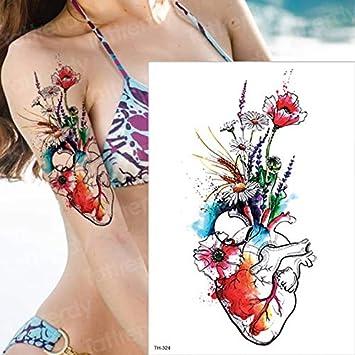 HXMAN 3 Unids Grandes Temporales Tatuajes Tigre Flores Brazo ...