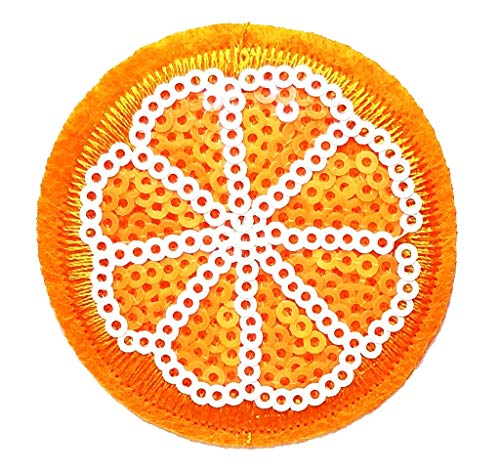PP Patch Sequin Orange Fruit Sliced Lemon Cartoon Retro Applique Iron-on Patch Stickers Sew on Uniform Jeans Clothes Hat Bag Dress Cap Polo Backpack Ideal for Gifts ()