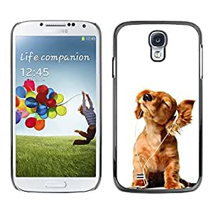 Paccase / SLIM PC / Aliminium Casa Carcasa Funda Case Cover - Golden Retriever White Music Puppy - Samsung Galaxy S4 I9500
