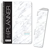HARDCOVER Academic Year Planner 2018-2019 - 5.5''x8'' Daily Planner/Weekly Planner/Monthly Planner/Yearly Agenda. Bonus Bookmark (Grey Marble)