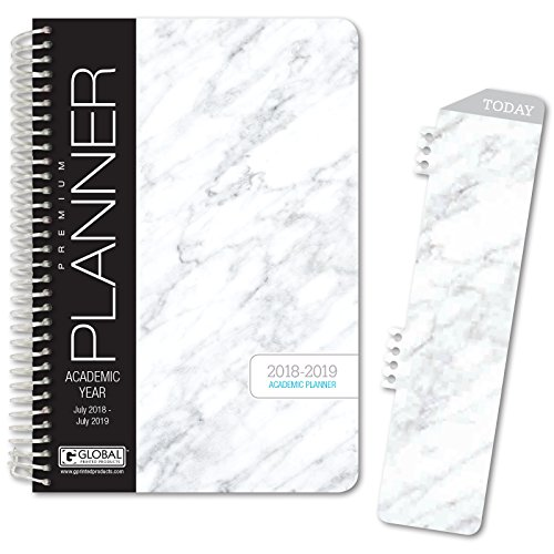 "HARDCOVER Academic Year Planner 2018-2019 - 5.5""x8"" Daily Planner / Weekly Planner / Monthly Planner / Yearly Agenda. Bonus BOOKMARK (Grey Marble)"