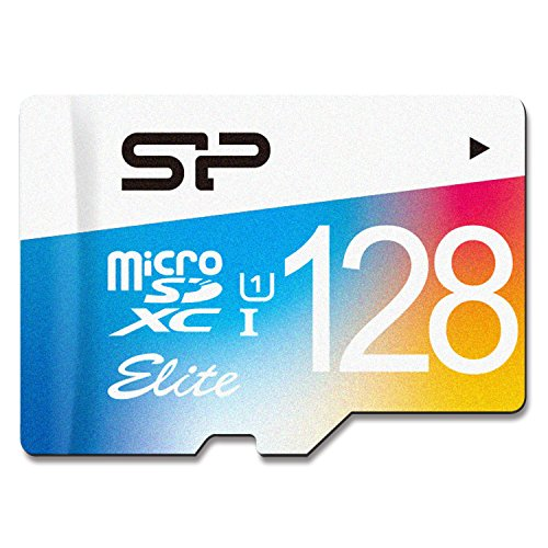 Silicon Power 128GB MicroSDXC UHS-1 Class10, Elite Flash memory Card with Adapter (SP128GBSTXBU1V20BT)