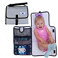 Luxury All in One Portable / Travel Diaper Changing Pad / Mat, Grey and White...