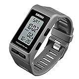 Women Mens Sports Watches Pedometer Calorie Digital Watch Waterproof LED Electronic Wrist Watch (Grey)