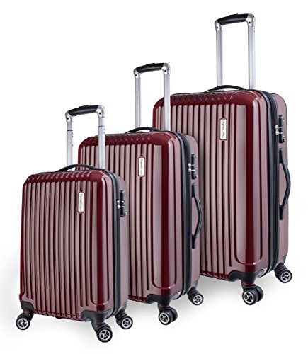 TravelCross Berkeley Luggage 3 Piece Lightweight Spinner Set - Red - Polycarbonate 3 Piece