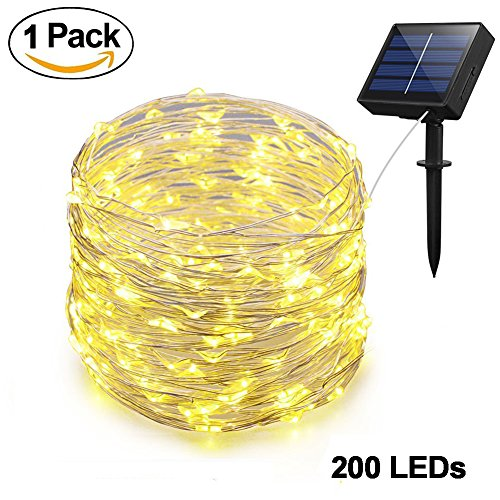 Christmas Yard Signs - Adecorty Solar String Lights, Solar Fairy Lights 66ft 200 LED 8 Modes Silver Wire Lights Outdoor String Lights Waterproof Solar Decorative String Lights for Patio Garden Yard Party Wedding Christmas