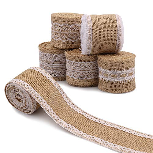 SS SHOVAN Burlap Ribbon White Lace Trims Natural Jute Fabric Ribbons Roll for DIY Projects Gift Wrap Christmas Home Party Decorations