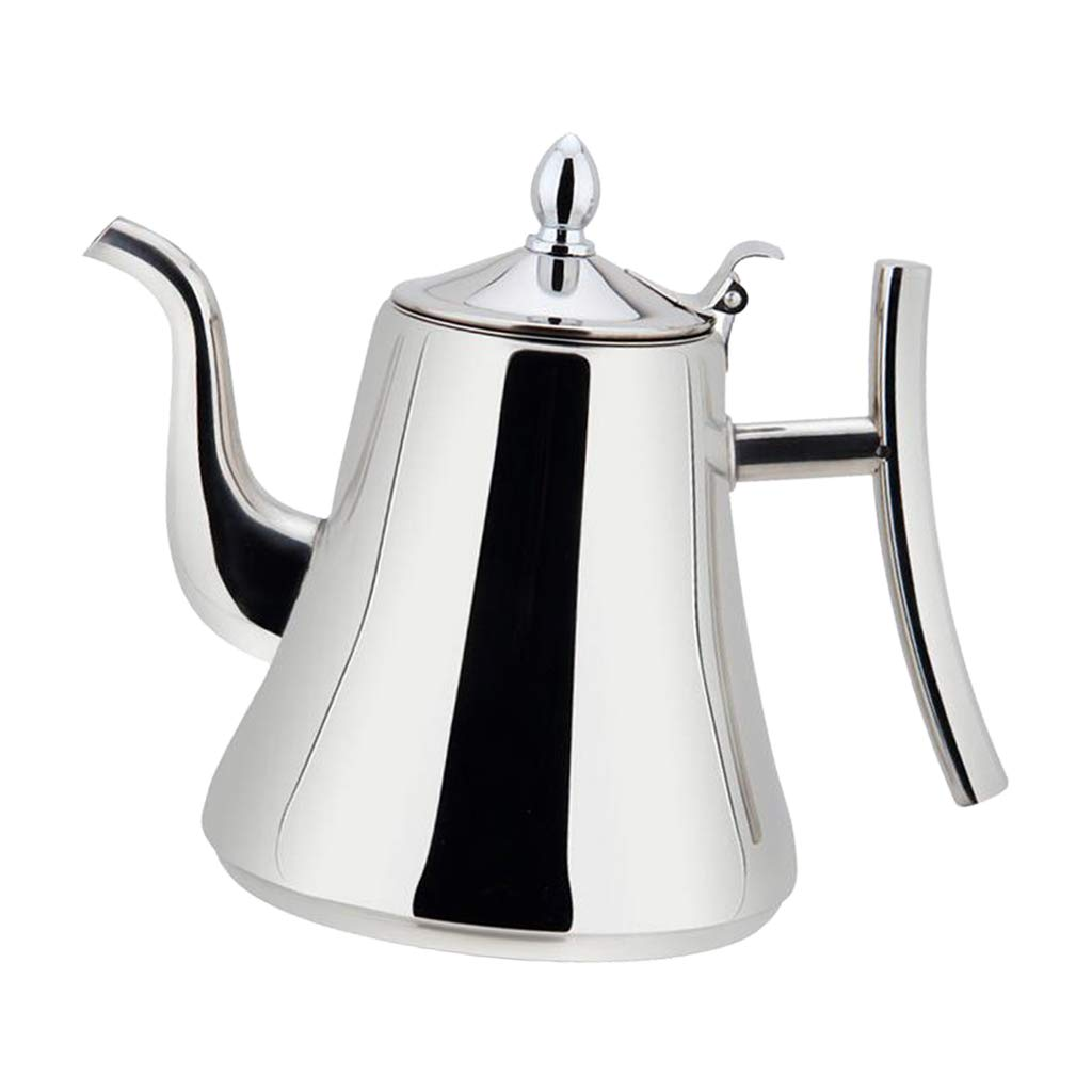MagiDeal Stainless Steel Tea Coffee Kettle, Gooseneck Thin Spout for Pour Over Coffee, Works on Gas, Electric, Induction Stovetop, (1L, 1.5L, 2L Available) - Silver, 1.0L non-brand