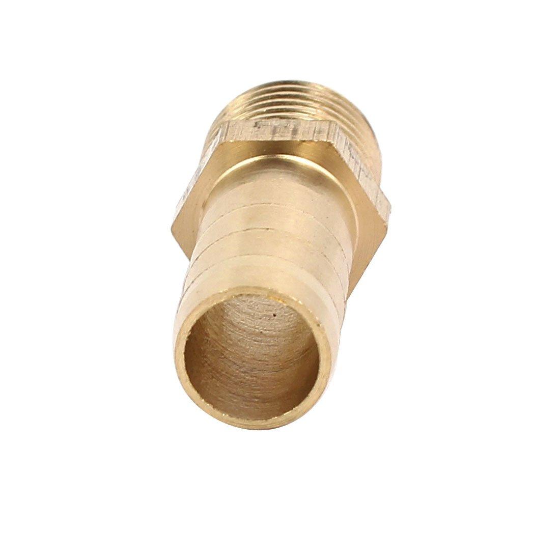 sourcingmap/® Acople el conector 5pcs 1//4 BSP rosca macho de 10 mm de di/ámetro interior de manguera de lat/ón
