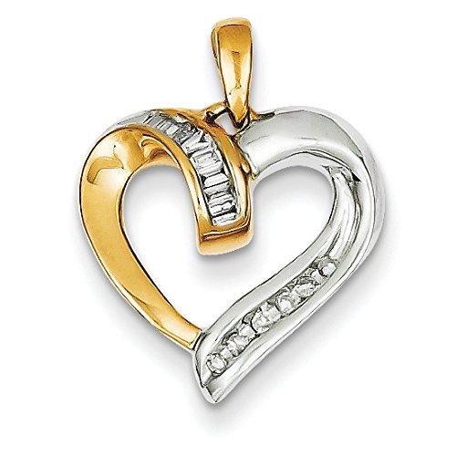 14 carats-Bicolore-JewelryWeb pendentif en forme de cœur
