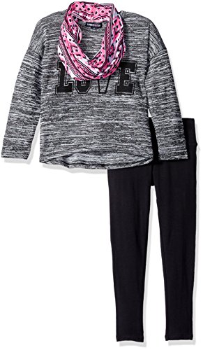 Limited Too Little Girls' 3 Piece Set Knit Top, Scarf, and Legging Pant, Heather Black, 4