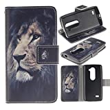 LG Leon Case, LG Tribute 2 Case, Ranyi [Cute Cartoon Painting Wallet] [Card Slot] [Kickstand Feature] Flip Folio PU Leather Wallet Protective Case for LG Tribute 2/ LG Leon LTE C40 (lion)