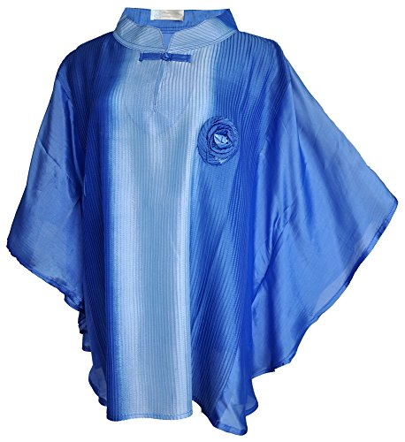 Amazing Grace Thai Silk Ethnic Batwing Mumu Top (Blue Rose)