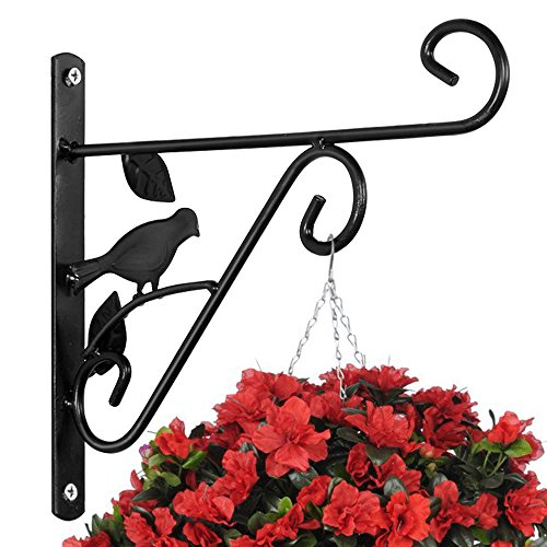 Hanging Plants Bracket 10'' Wall Planter Hook Flower Pot Bird Feeder Wind Chime Lanterns Hanger Patio Lawn Garden for Shelf Shelves Fence Screw Mount Against Door Arm Hardware - Iron Cast Wrought Garden Decor