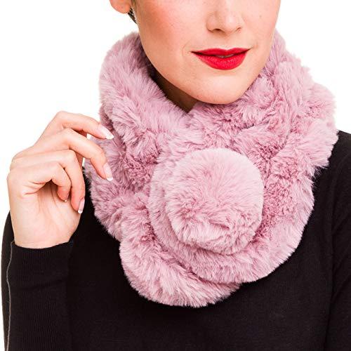 Fur Collar Scarf for Women Faux Fur Scarves Neck Shrug for Winter Coat Dress (Pink) ()