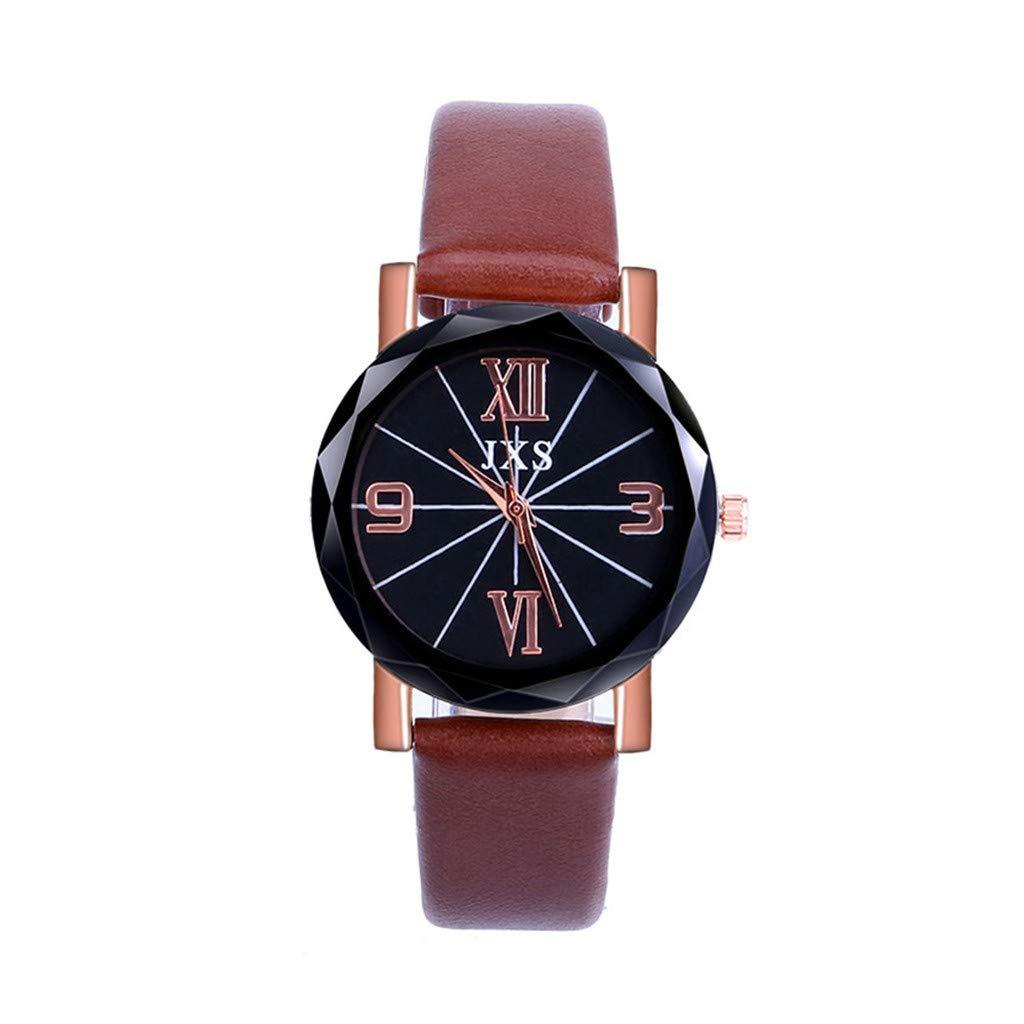 ❤️Yanvan❤️Hot Sale Women Quartz Watch, Ladies Women Fashion Luxury Leisure Set Auger Leather Steel Quartz Watch (Brown)