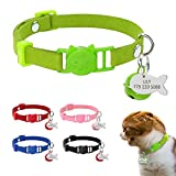 Didog Colorful Suede Leather Kitten Collar with Breakaway Safety Buckle,Fish Shaped ID tag and Bell,8-11.5 Inch Adjustable,Green