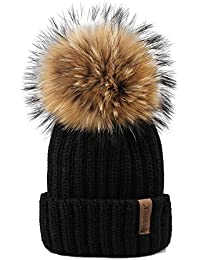 b7bc9e7d8ee Winter Knit Hat Real Raccoon Fur Pom Pom Womens Girls Warm Knit Beanie Hat