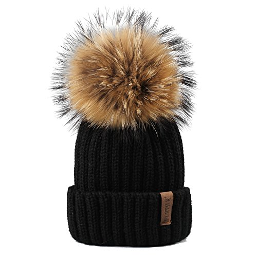 FURTALK Womens Girls Winter Fur Hat Real Large Raccoon Fur Pom Pom Beanie Winter Hats (Black)