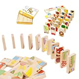HUIPEN 28PCS/Set Domino Classic Animals Wooden Dominoes,Jigsaw Game,wooden table games