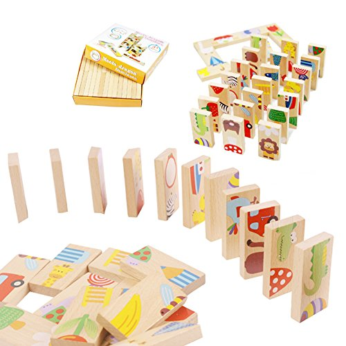 HUIPEN 28PCS/Set Domino Classic Animals Wooden Dominoes,Jigsaw Game,wooden table games by HUIPEN
