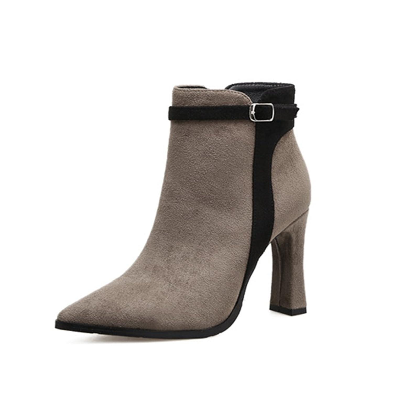 Spitz Stiefe für Damen - Mode Blockabsatz Veloursleder-Optik Ankle Boots Fleece Gefüttert Warm Winter Herbst Stiefel Schuhe grau 1