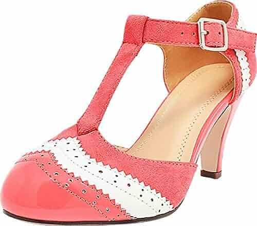 3804470091 Cambridge Select Women's T-Strap Wingtip Style Closed Toe Cut Out Mid Heel  Dress Pump