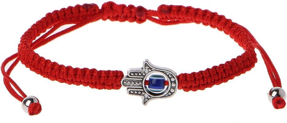 cuigu de pulseras de cadena de Hamsa de la suerte rojo de Cábala mano de fatima de ojos mal de azul, B #, 7.09