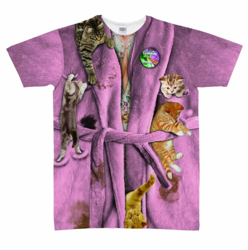 Faux Real Women's Cat Lady Missy Crew Neck Nightshirt, Pink, One Size