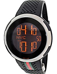 I-Gucci Digital Dial SS Black Rubber Quartz Male Watch YA114103