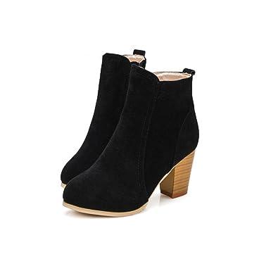 LandFox Shoes, Autumn Winter Boots Women Ankle High Heels Shoes Martin Boots Black