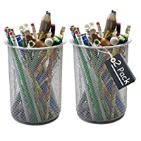 1InTheHome Big Tall Pencil Cup, Silver Wire Mesh