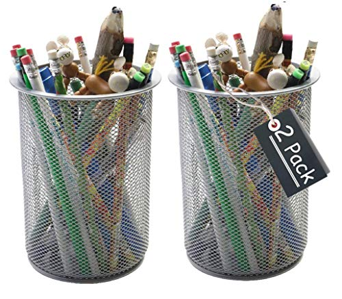 (1InTheHome Big Tall Pencil Cup, Silver Wire Mesh ''2 Pack'')