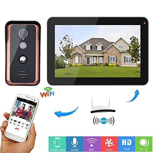 HUALI 9 Pulgadas con Cable WiFi Video Puerta teléfono Timbre Portero Sistema de Entrada con Cable IR-Cut cámara visión...