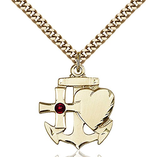 Gold Filled Faith Hope & Charity Pendant with 3mm January Red Swarovski Crystal 7/8 x 3/4 inches with Heavy Curb Chain by Bonyak Jewelry Saint Medal Collection
