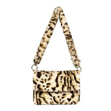 AFFEco Women Leopard Faux Fur Handbag Crossbody Messenger Shoulder Bag  (Beige) 2a7aff8112c93