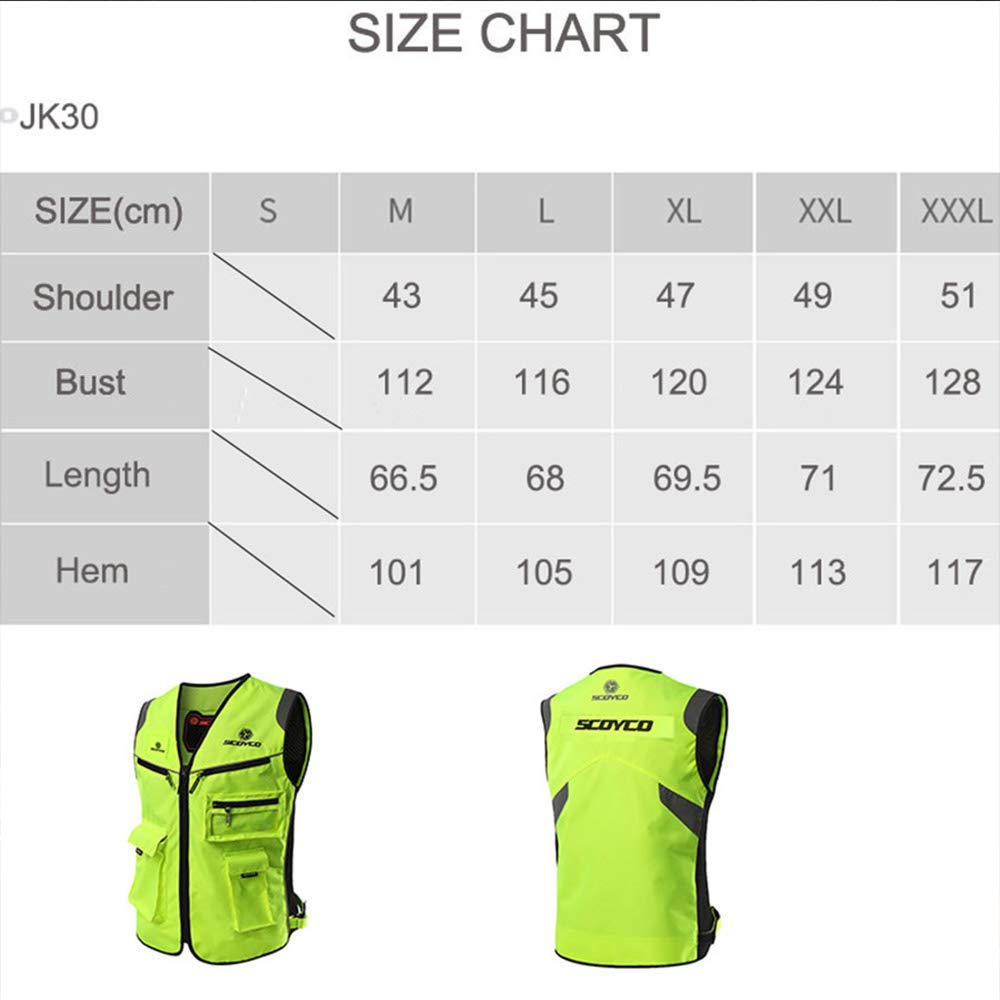 SCOYCO High Visibility Jacket,Reflective Safty Clothing Armor Insert Protective Fluorescent Green Motorcycle Vest (GREEN,L)