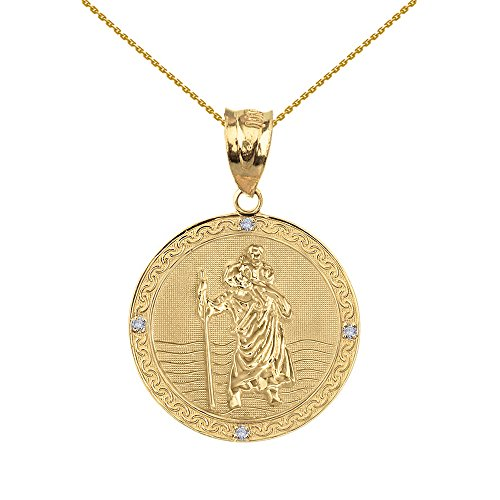 Gold Medallion Collection - Solid 10k Yellow Gold Saint Christopher Diamond Round Medal Charm Necklace (1