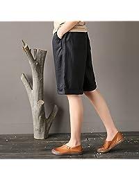 aeneontrue dama 100% lino, ligero de la mitad pantalones Casaul Amplia Pierna Pantalones cortos recortados