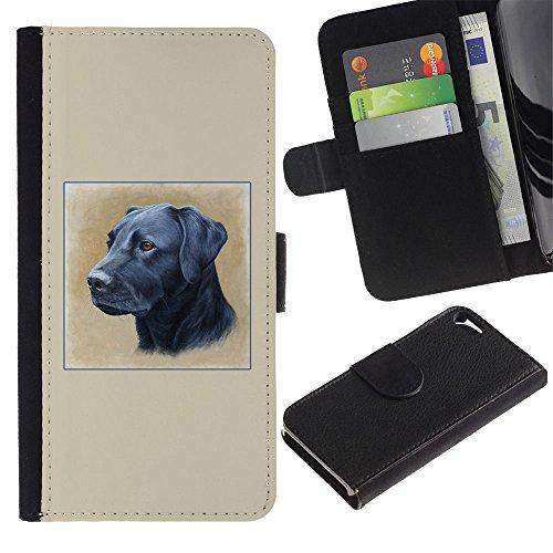 LASTONE PHONE CASE / Luxe Cuir Portefeuille Housse Fente pour Carte Coque Flip Étui de Protection pour Apple Iphone 5 / 5S / Black Labrador Oil Painting Retriever Dog