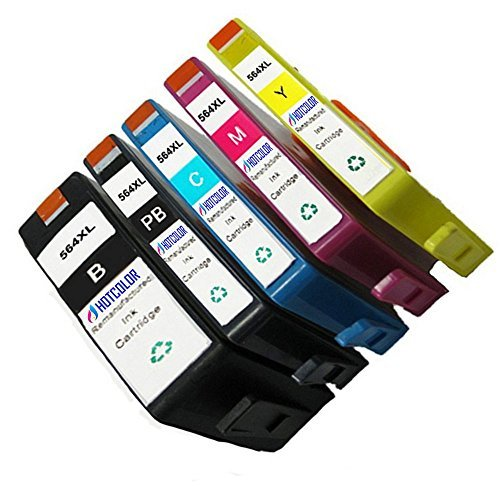 HOTCOLOR 5 Pack Replacement inkjet cartridges 564XL ink cartridge for Photosmart 5510 5511 5512 5514 5515 5520 5522 5524 5525