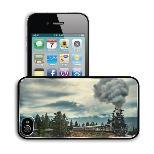 Steam Clouds Trains Bridges Scenery Apple iPhone 4 / 4S Snap Cover Premium Aluminium Design Back Plate Case Customized Made to Order Support Ready 4 7/16 inch (112mm) x 2 3/8 inch (60mm) x 7/16 inch (11mm) MSD iPhone_4 4S Professional Metal Cases Touch Accessories Graphic Covers Designed Model HD Template Wallpaper Photo Jacket Wifi 16gb 32gb 64gb Luxury Protector Wireless Cellphone Cell Phone
