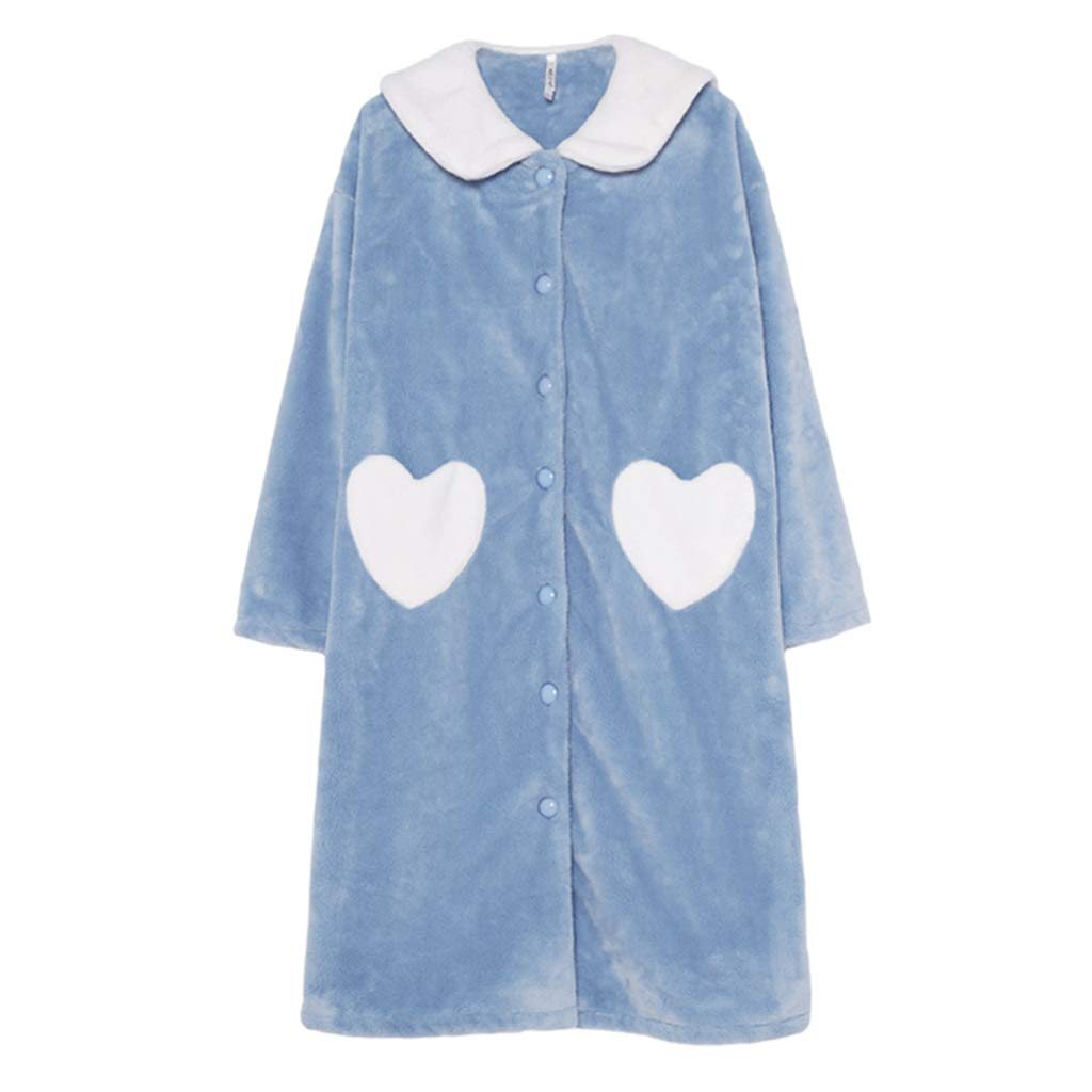 blueE Nightgown Female Winter Sweet Cute Warm Coral Velvet Pajamas Loose Nightdress Playful and Cute Nightwear (color   bluee, Size   L)