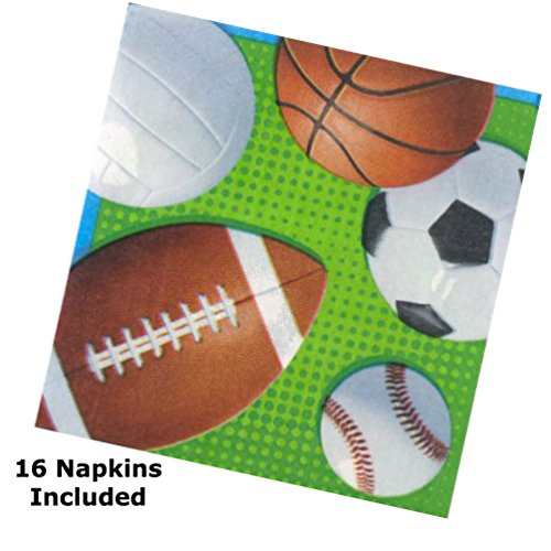 Football Party Birthday Supplies Game Day Set - Plates Napkins Tableware Utensils Cover Kit for 16 by PRHS (Image #2)