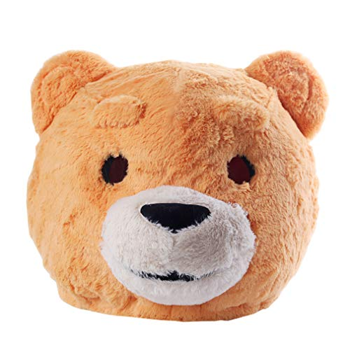 Plush Teddy Bear Head Mask Halloween Teddy Bear Mascot Costume Yellow]()